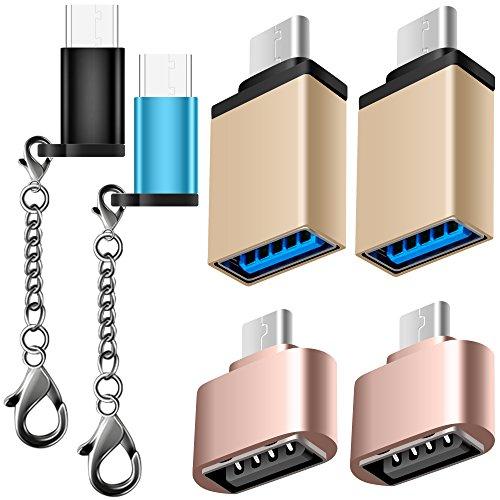 AFUNTA 6 Pack Adaptador Tipo C USB-C con 4 Colores, USB C a Micro USB Conector Convertir Cargador rápido con Llavero para Samsung Galaxy S8 Nuevo Macbook Pixel XL Nexus 5X 6P