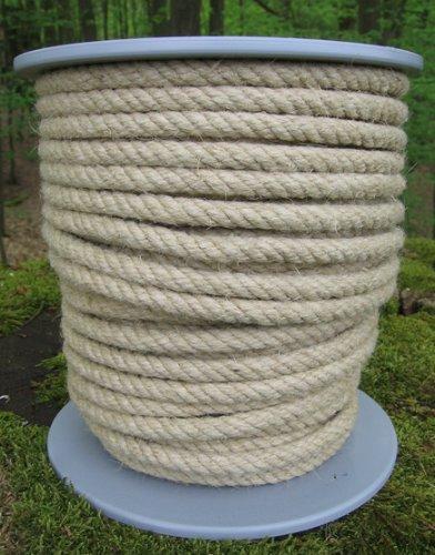 Gepotex Hanfseil Corde Chanvre – Corde en Chanvre diamètre 8 mm – 50 m sur Bobine Disque – 100% Naturel Chanvre