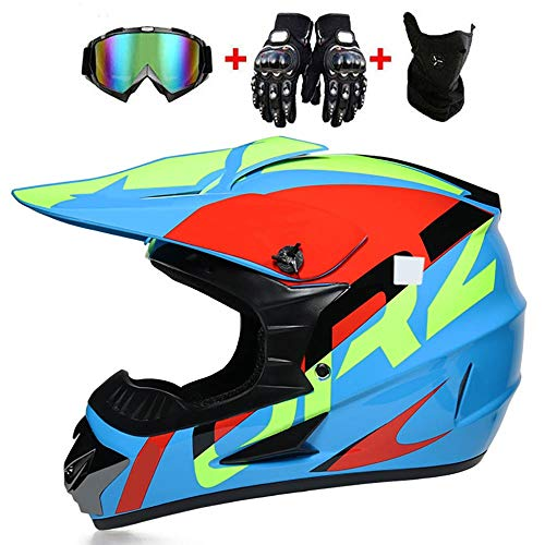 LWAJ Motocross Youth Infantil Casco De Moto, Casco de Seguridad para Bicicleta de montaña, Casco de Motocross, capacetes y Motocross, Transpirable, para Todas Las Estaciones