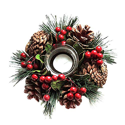 Kandelaar Kerst Krans Kunstmatige Pine Naald Decoraties Venster Desktop Decoratie Vintage Romantische Eettafel Glas Kaarsenhouder met Kaars