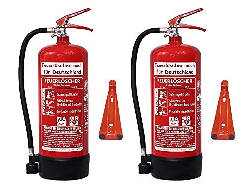 2X 6 L Schaum Feuerlöscher Brandklasse AB DIN EN 3 + GS, Manometer, Wandhalter, Messingarmatur Sicherheitsventil, Standfuß, Schaumlöscher (Ohne Prüfnachweis u. Jahresmarke)