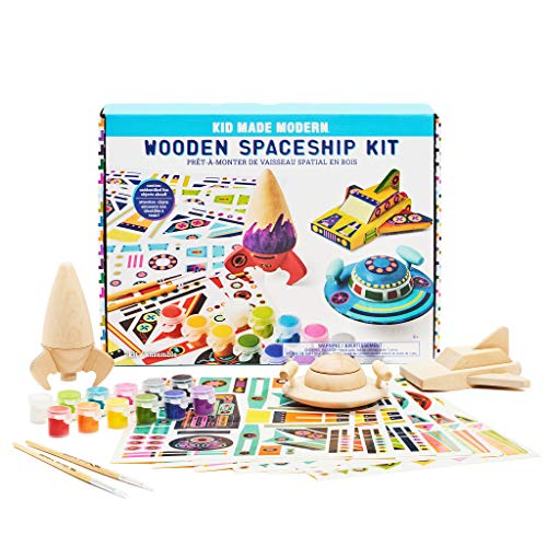 Kid Made Modern Wooden Spaceship Kit - Kids Arts and Crafts Toys