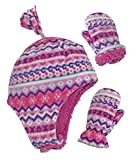 N'Ice Caps Little Girls and Baby Soft Sherpa Lined Micro Fleece Pilot Hat and Mitten Set (Fair Isle Print, 2-3 Years)