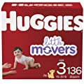 HUGGIES, Baby Diapers Ct Little Movers, White, Size 3 , 136 Count