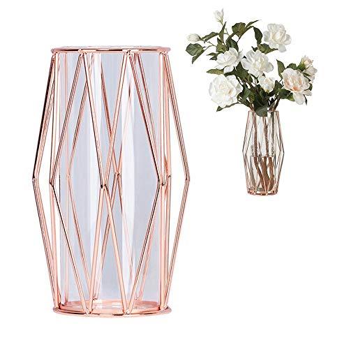 Perfuw Vase Glas Blumenvase Mit Geometrischem Metallständer, Kristallklare Terrarien Pflanzgefäß Knospen-glasvasen Für Blumen Hydroponikpflanze, Herzstück Für Zuhause/Büro/Hochzeit - Roségold