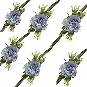 Silk Flower Arrangements 6 (Pieces/lot) Groom Boutonniere Man Corsage Women Bride Wrist Corsage Wedding Artificial Flowers (Blue, Wrist Corsage)