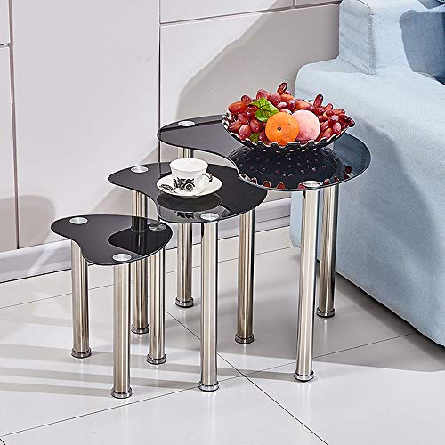 nozama Nest of Tables Black Glass Nesting End Tables 3 Coffee Table Sofa Side Tables for Living Room (Black, Irregular Shape)
