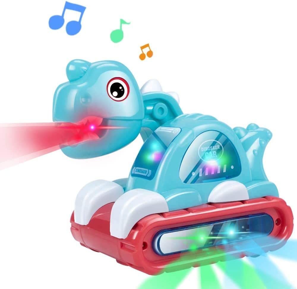 Pynior Baby Music Crawling Toy, Toddler Musical Moving Car Toy with Sound and Light, Interactive Learning Gift for 18 Month 2 3 4 Year Old Infants Toddlers Boys Girls