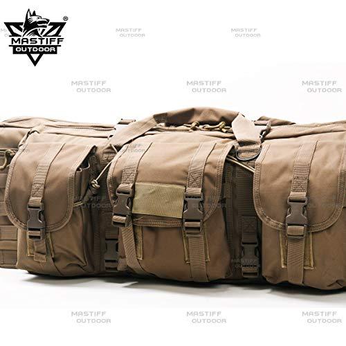 "Mastiff Outdoor Tactical Double Long Rifle Pistol Gun Bag Firearm Hungting Pack Transportation Case Paintball Airsoft Length 42"" Tan"
