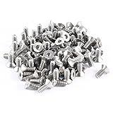 Katigan 100pzs Tornillos pernos planos avellanados hexagonal de acero inoxidable 304HC M2x5mm