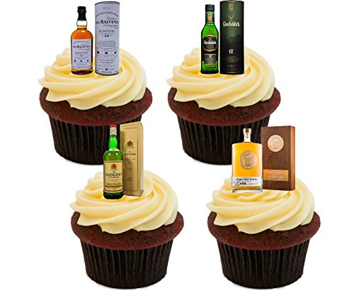 Whisky Lover's Single Malt Mix, Edible Cake Decorations - Stand-up Wafer Cupcake Toppers