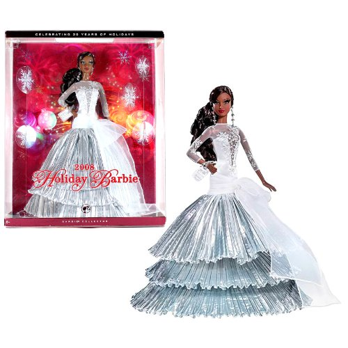 Barbie Collector Series 'Celebrating 20 Years of Holidays' 12 Inch Doll - Holiday Barbie 2008 with White Evening Gown, Chandelier Earrings, Shoes and Display Stand (African American Version - L9644) by Mattel