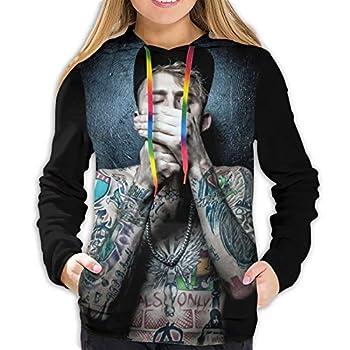 Ma-Chine Gun Kelly Mgk Womens Casual Hooded Sweatshirt Drawstring Pullover Hoodies  Medium  Black