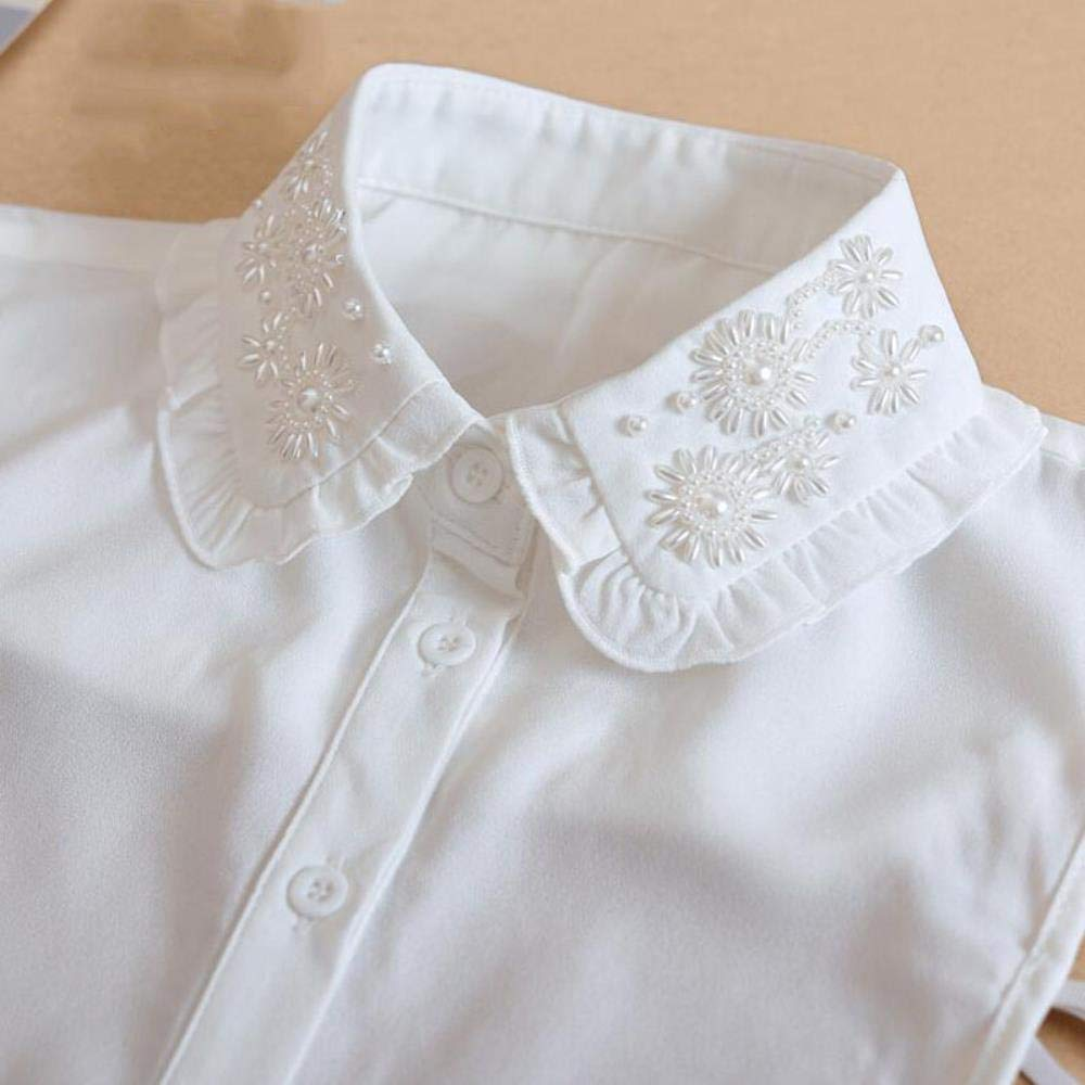 Collar de cuentas desmontables para mujer, color blanco, elegante, falso, cuello de cristal para mujer, encaje extraíble, NEP 11: Amazon.es: Hogar