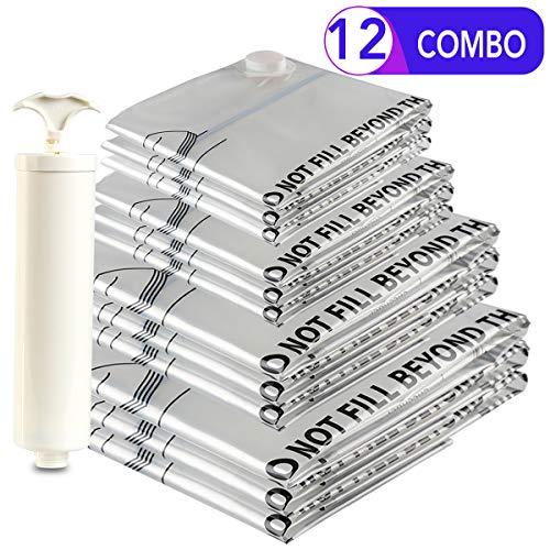 Eono by Amazon - Paquete de 12 Bolsas Premium de compresión al vacío con Bomba Manual (3 pequeñas, 3 Medianas, 3 Grandes, 3 Jumbo)