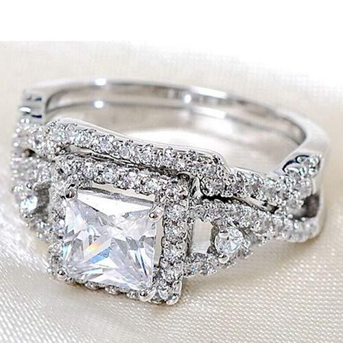 Lai-LYQ 2 stuks zilver gecoate zirkonia ringen set kristal Solitaire MIT/accenten voor bruiloft bar avondje sieraden verjaardagscadeau