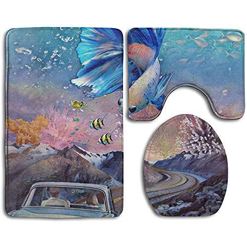 qinzuisp vloermat vis en auto op de weg badkamer tapijt anti-slip matten set 3 stuk afdrukken tapijten+wc stoelhoe+contour mat