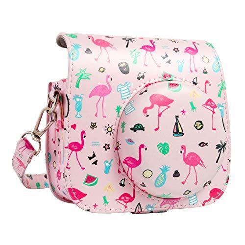 Best Price QUEEN3C Flamingo Pink Mini 9 Camera Case Bag with Adjustable Strap for Fujifilm Instax Mi...
