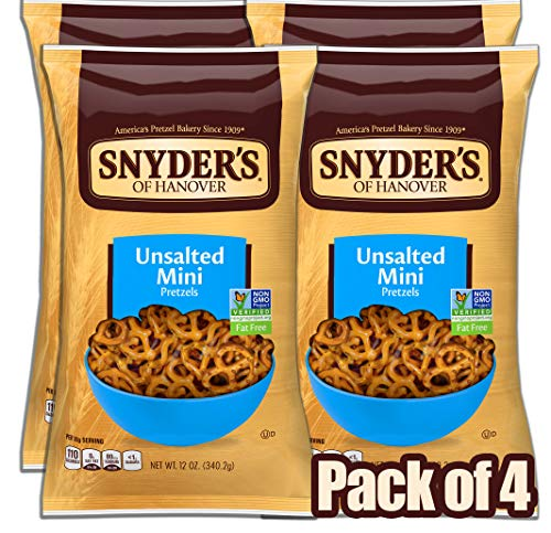 Snyder's of Hanover Mini Pretzels, Unsalted Pretzels, 12 Ounce Bag (Pack of 4)