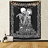 Sevenstars Skull Tapestry The Kissing Lovers Tapestry Black Tarot Tapestry Human Skeleton Tapestry for Room velcro tapes Apr, 2021