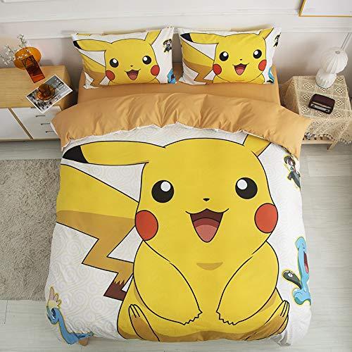 Pikachu funda nórdica 3D Anime Pokemon dibujos animados para niños juego de cama 2 piezas incluyen 1 funda nórdica y 1 fundas de almohada, funda nórdica ultra suave (individual 135 x 200 cm)