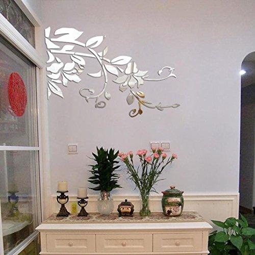 Dinglong 3D Diy Fleur Forme Acrylique Stickers Muraux Moderne Stickers D/éCoration Mosa/ïQue Miroir Effet Salon Maison R/éFrig/éRateur D/éCor Papier Peint Autocollant Affiche Noir