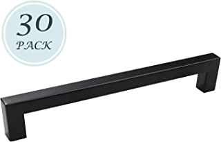30 Pack Black Stainless Steel Cabinet Pull Bar Kitchen Cabinet Euro Style Drawer Door Stainless Steel T Bar Pull Handle Pulls 7-9/16