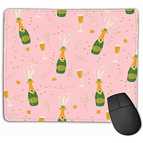 Gaming Mouse Pad Oblong Vorm Muis Mat 30X25CM Champagne Flessen Glazen Naadloos Patroon Roze ba Achtergrond Explosie Fluiten Coördinaat slok Zie