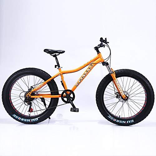 XNEQ Moto De Nieve con Neumáticos Gruesos 4.0 De 26 Pulgadas, Bicicleta De Montaña De Velocidad Variable, Velocidad 7/21/24/27/30, para Hombres, Mujeres, Estudiantes,Naranja,30