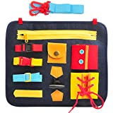 MOMSIV Busy Board for Toddlers, Portable Felt Learning Early Basic Life Dress Skills Activity Board, Educational and Sensory Toys for Children Learn to Zip, Snap, Button, Buckle, Lace And Tie