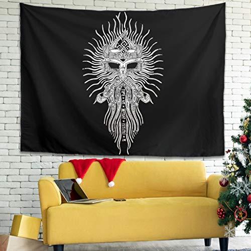 Magiböes Tapiz de pared vikingo Odin guerrero, barba, fathurk, runas impresas, tela de fondo vintage, blanco, 150 x 130 cm
