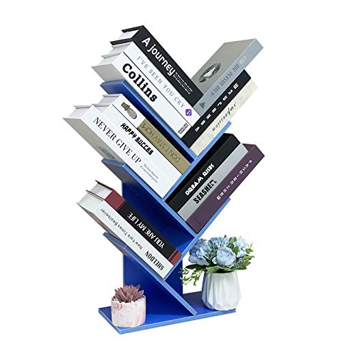 NW 1776 Tree Bookshelf, 4-Layer Bookshelf,Freestanding Bookshelf/Can Hold Books/Magazines/CDs and Photo Albums - 12.2 x 6.6 x 23.6 inches,Display Storage Rack for Home,Office Decoration Shelf