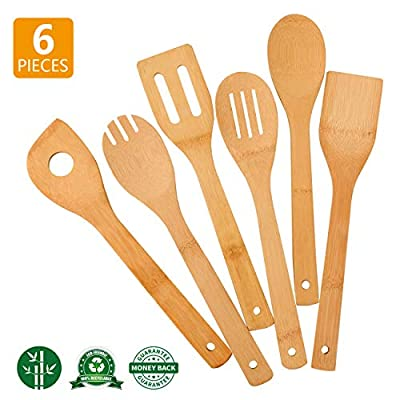 Zhuoyue Kitchen Cooking Utensils Set, 6 Pcs Bamboo Wooden Spoons & Spatula Kitchen Cooking Tools for Nonstick Cookware and Wok