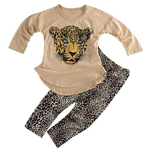 ggudd Niña Leopardo Impreso Manga Larga Tops y Polainas Pantalones Conjuntos de Trajes(Caqui,6-7 años)