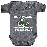 ShirtStreet Landwirt Trecker Strampler Bio Baumwoll Baby Body kurzarm Jungen Mädchen Rennwagen - Traktor, Größe: 3-6 Monate,Heather Grey Melange