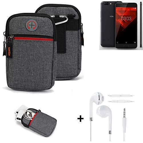 K-S-Trade® Gürtel-Tasche + Kopfhörer Für -NOA H10le- Handy-Tasche Schutz-hülle Grau Zusatzfächer 1x