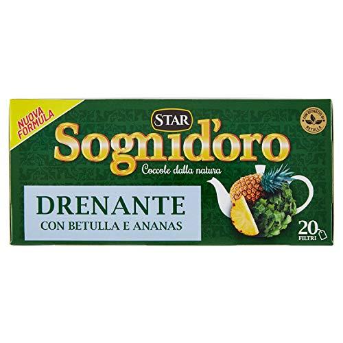 Sogni d'Oro Tisane, Complemento Alimentare, Drenante con Ortica, Verga d'Oro e Betulla, 20 Filtri -...