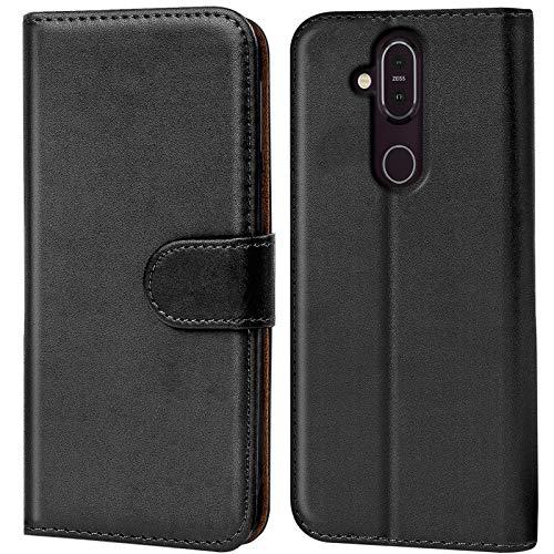 Conie Handyhülle für Nokia 8.1 Hülle, Premium PU Leder Flip Hülle Booklet Cover Weiches Innenfutter für 8.1 Tasche, Schwarz