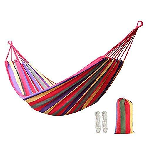 KEREITH Outdoor Garden Hammock Cotton Soft Camping Hammock With Backpack for Double 2 Person, Load 450lbs,Best for Backyard Porch Travel Camping