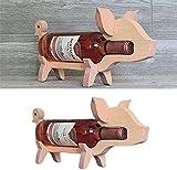 Beagle Wine Bottle Holder,Wooden Pig Drinker Wine Rack ,Animal Wine Bottle Holder,Removable Adult Creative Decoration Wine Rack for Counter Deco (Wooden)