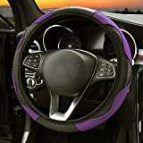 Leather Steering Wheel Cover - 15 inch (Black Purple)