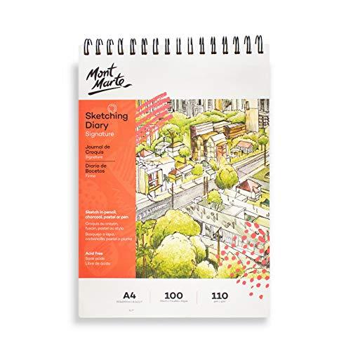Mont Marte Bloc Dibujo A4 – 100 Hojas – 110gsm – Papel de alta Calidad – Ideal para Dibujos y Esbozos