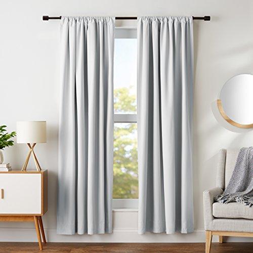 "Amazon Basics Room Darkening Blackout Window Curtains with Tie Backs Set - 52"" x 84"", Light Grey"