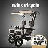 BABIFIS El Marco de Acero de la Rueda de Goma Inflable del Aire del Triciclo de los Gemelos Gemelo pedalea Trike, Quita el Cochecito de la Barra de Empuje para 2 bebés