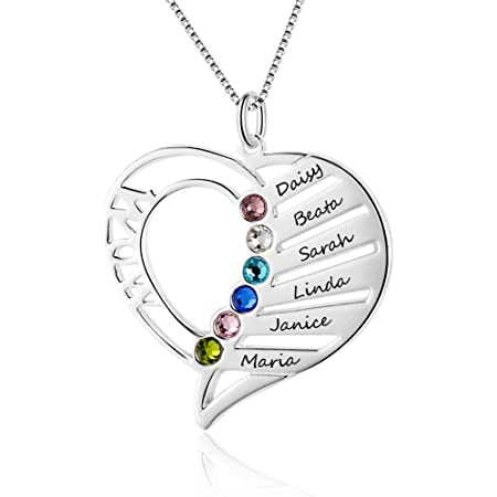 Grand Made Collar de corazón Personalizado 6 Piedras de Desfile simuladas 925 Collar de Madre de Perla de Plata de Ley para Madre
