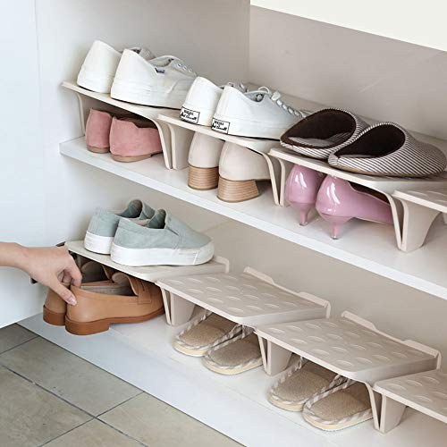 shoes shelves organizers Shoe Stacker Slotz Space Saver, Shoe Racks for Closet Organization No Assembly Require, Durable Plastic Shoes Holder for Home Storage, Apricot, 4 Pack
