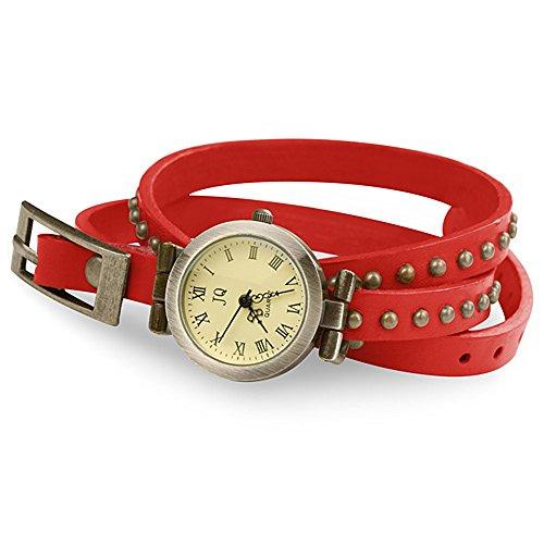 Taffstyle Damen-Armbanduhr Analog Quarz mit Leder-Armband Wickelarmband Uhr Vintage Rot Gold