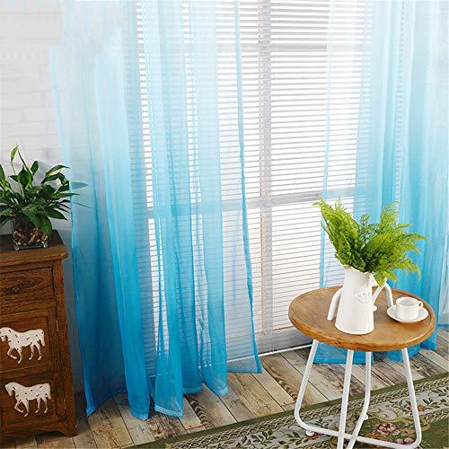 YUNSW Farbverlauf Tüll Vorhänge Polyesterfaser Halbschattierung Atmungsaktiv Wohnzimmer Schlafzimmer Balkon Vorhang 2 er Set