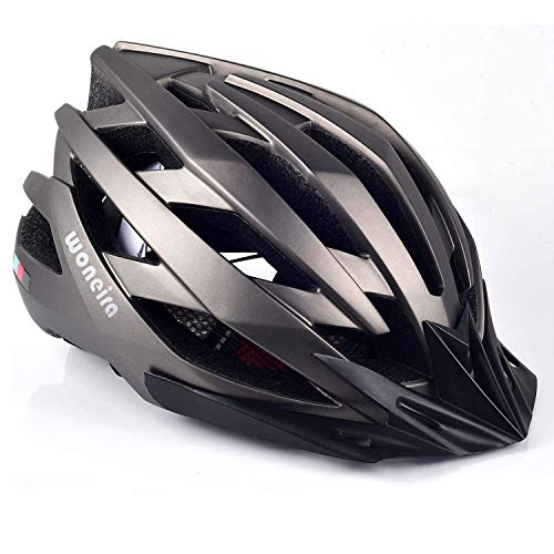 WONEIRA Bike Helmet, Bicycle Helmet with LED Light CPSC&CE Certified Adult Cycling Helmet for Men Women Adjustable Ultralight Stable Mountain & Road Biking Helmets