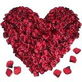XCOZU Pétalos de Rosa, 3000 Piezas Pétalos de Rosa Roja Artificiales, Pétalos de Flores de Seda, Románticos Decoración para Bodas, Fiestas, Cumpleaños, San Valentín